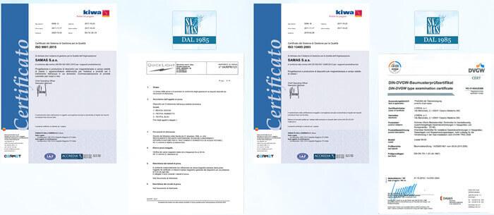 Certificazioni per i prodotti per l'acqua di casa Revital®